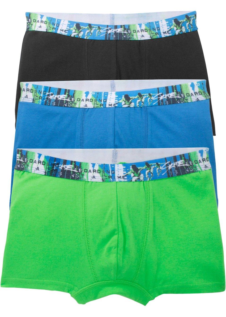boxershorts 3er pack gletscherblau schwarz knallgr n. Black Bedroom Furniture Sets. Home Design Ideas