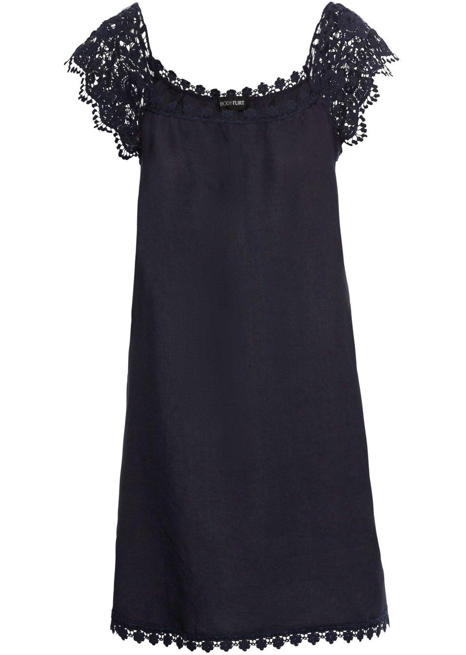 Romantisch-verspieltes Kleid aus Leinen mit Spitzendetails - dunkelblau 4iVjE Qux8o