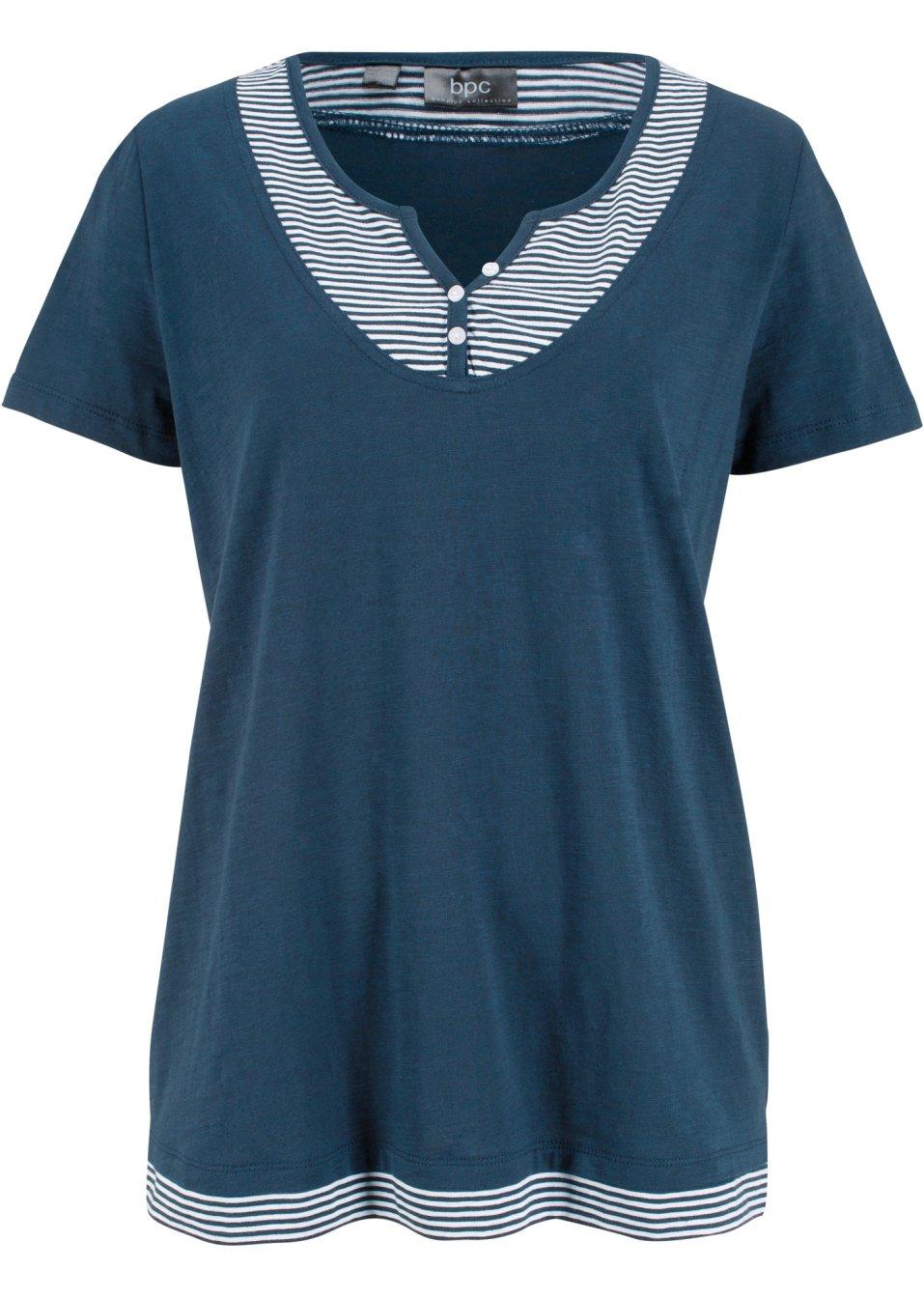 Figurumspielendes Kurzarm-Shirt in 2in1 Optik - dunkelblau kUy2W QsS2Z