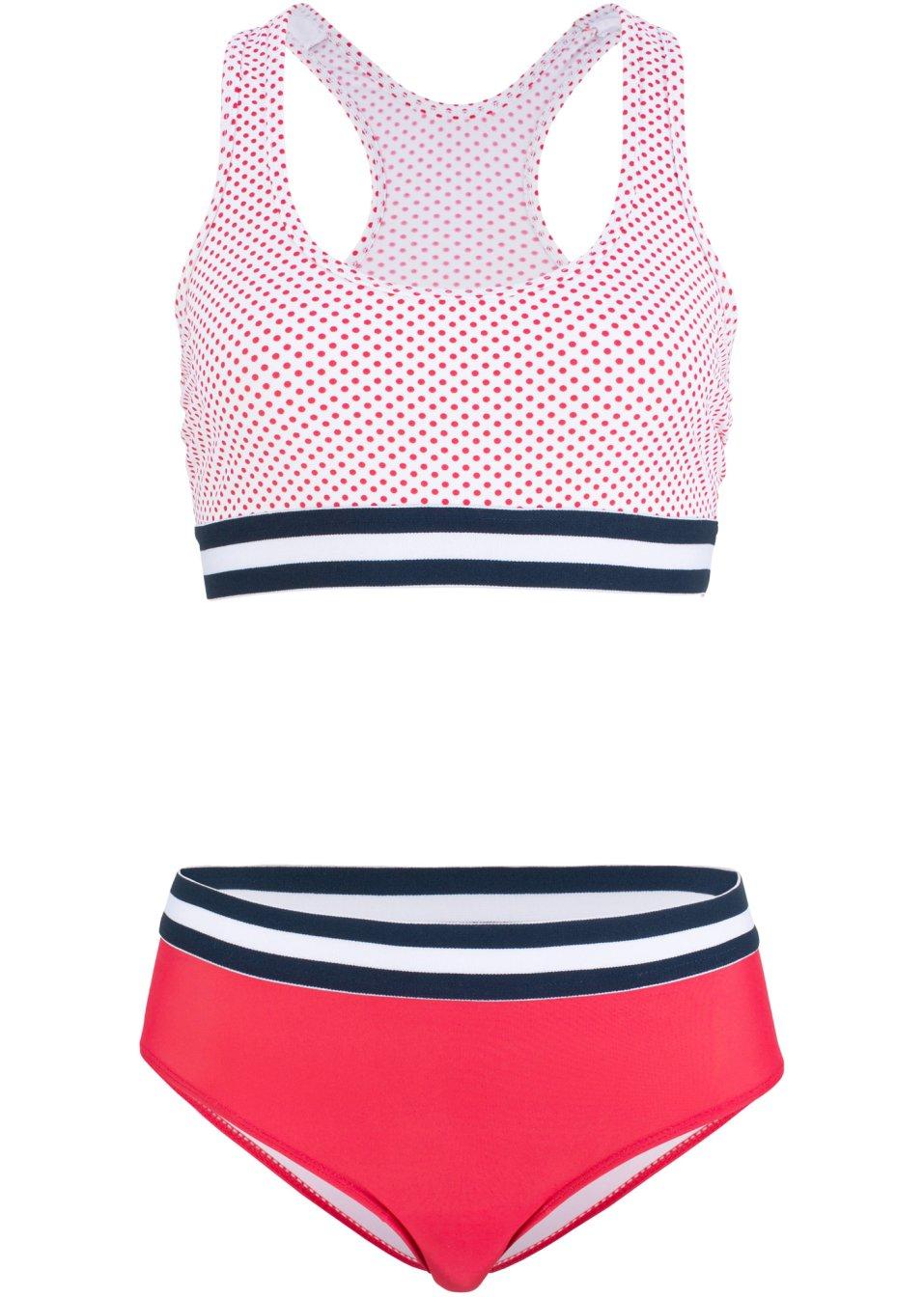 Komfortabler Bustier Bikini mit Ringerrücken und breiten Gummibündchen - rot/weiß kcDqA lcdeI
