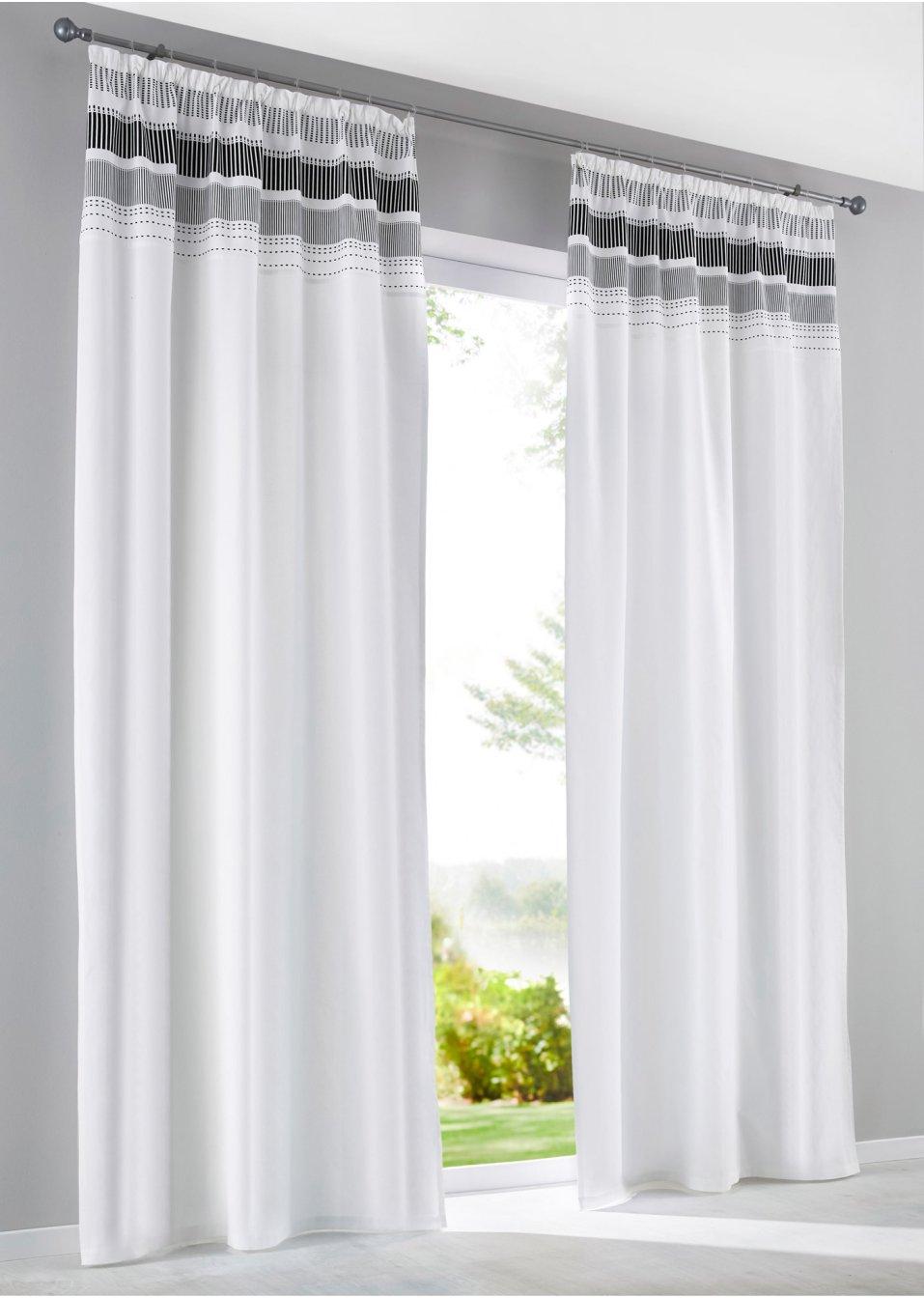 Vorhang Schwarz Weiß Gestreift : vorhang streifen 1er pack wei schwarz gestreift bpc ~ Watch28wear.com Haus und Dekorationen