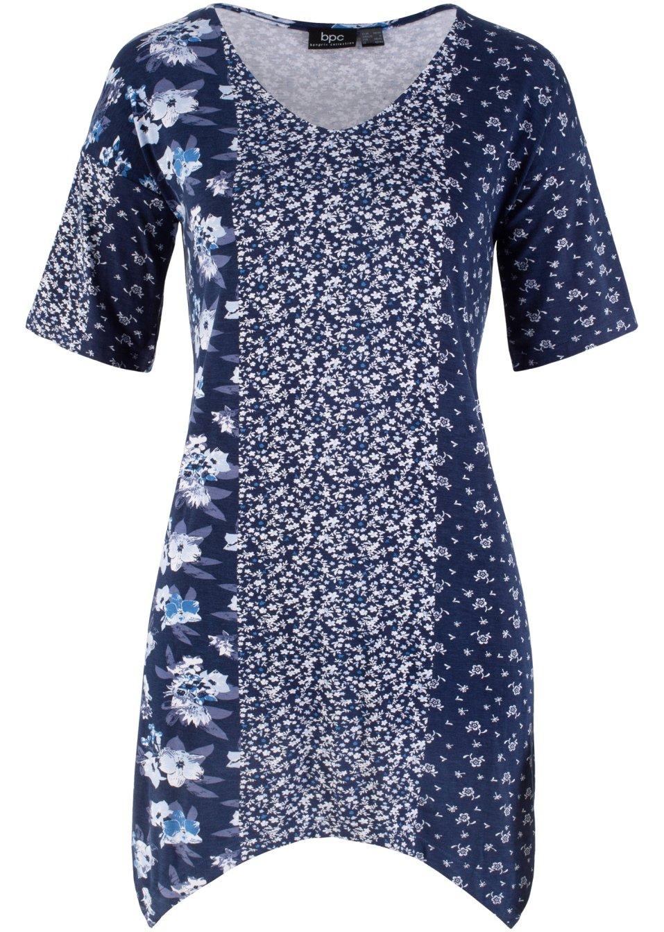 Kaschierendes Longshirt mit Zipfelsaum und dekorativem Druckdessin - mattblau gemustert P5w7Y 0Ossu