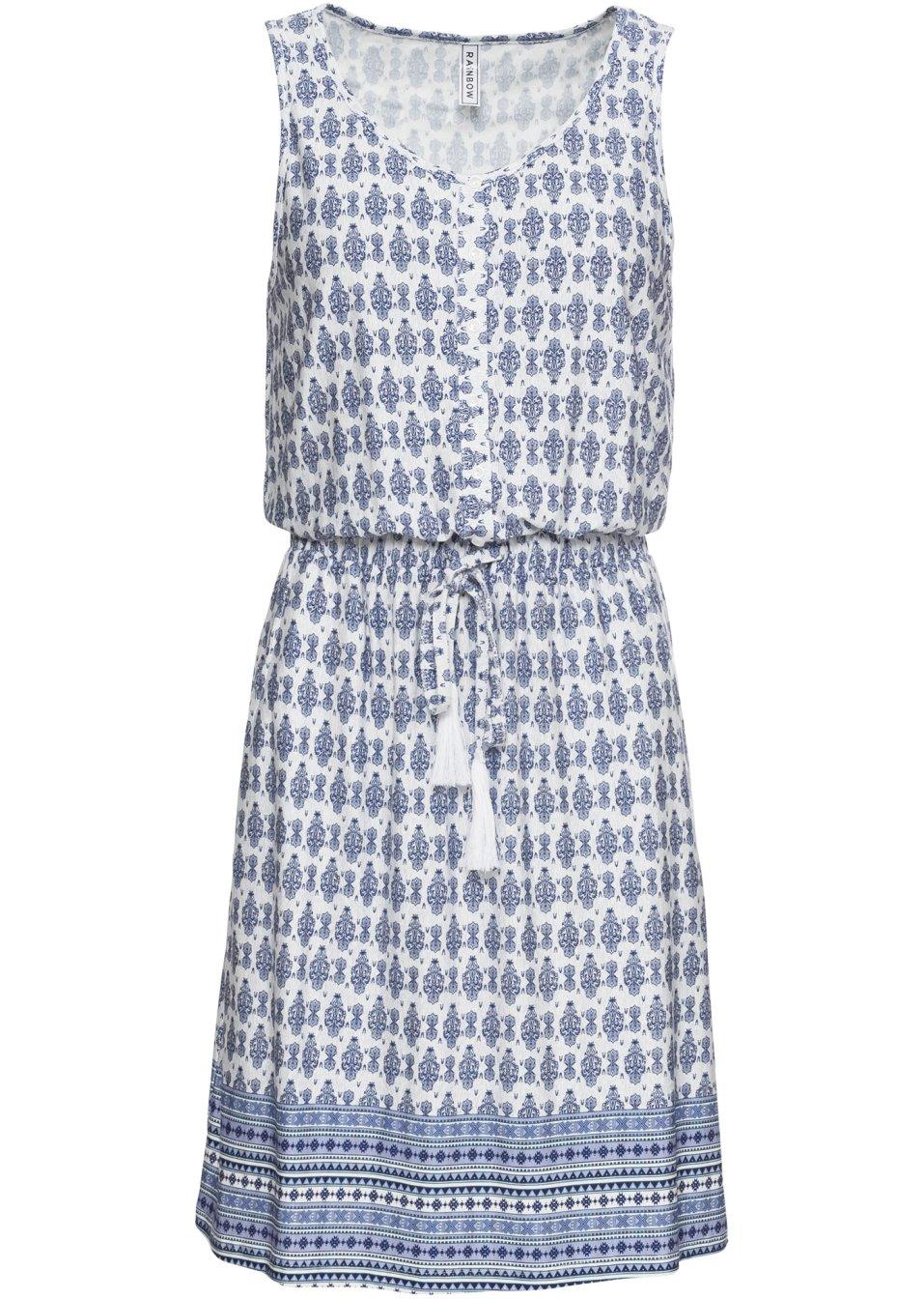 Kurzes Kleid mit Bindekordel - blau/weiß gemustert IVF37 Ys4Jd
