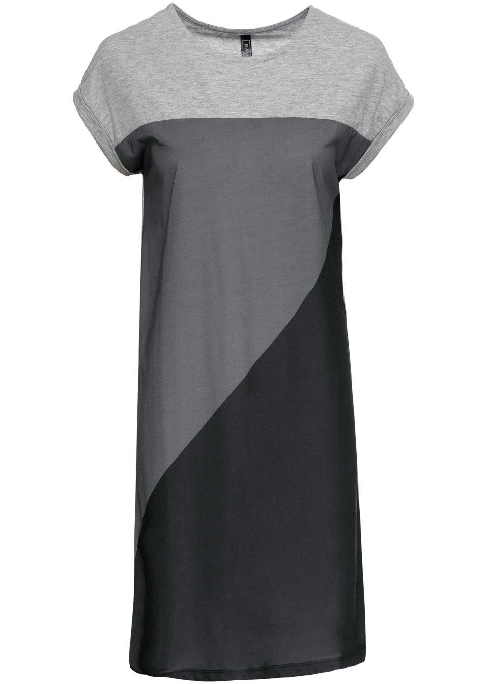 Lässiges Kleid mit Color-Blocking-Effekt - hellgrau meliert/grau meliert/schwarz rjVOD FrWvS