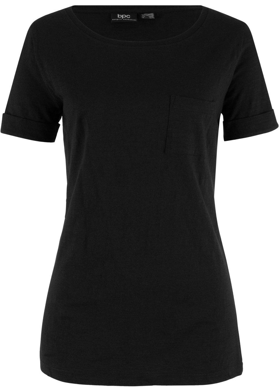Figurgünstiges Baumwoll Flammgarn T-Shirt mit dekorativer Brusttasche - schwarz 7oUek H0V3T