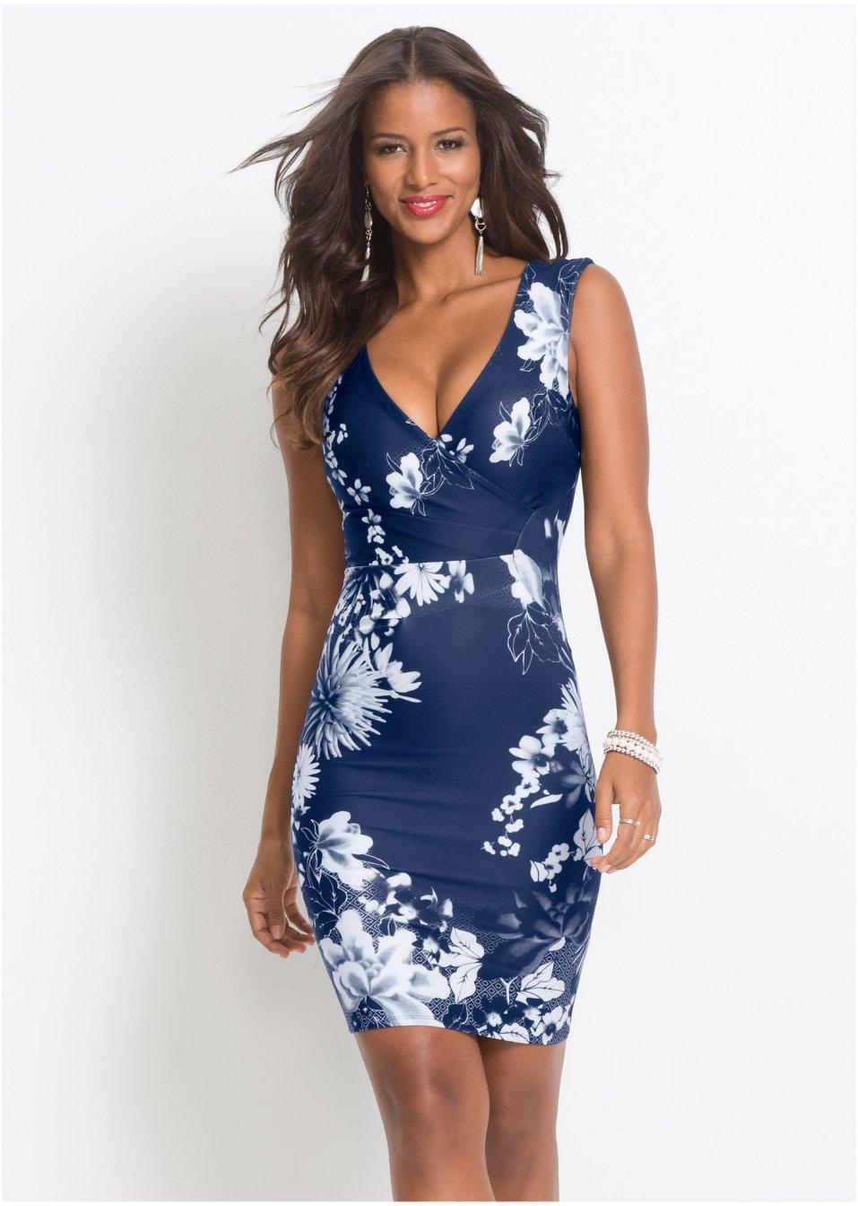 Kleid mit Blumenprint blau/weiß - BODYFLIRT boutique ...