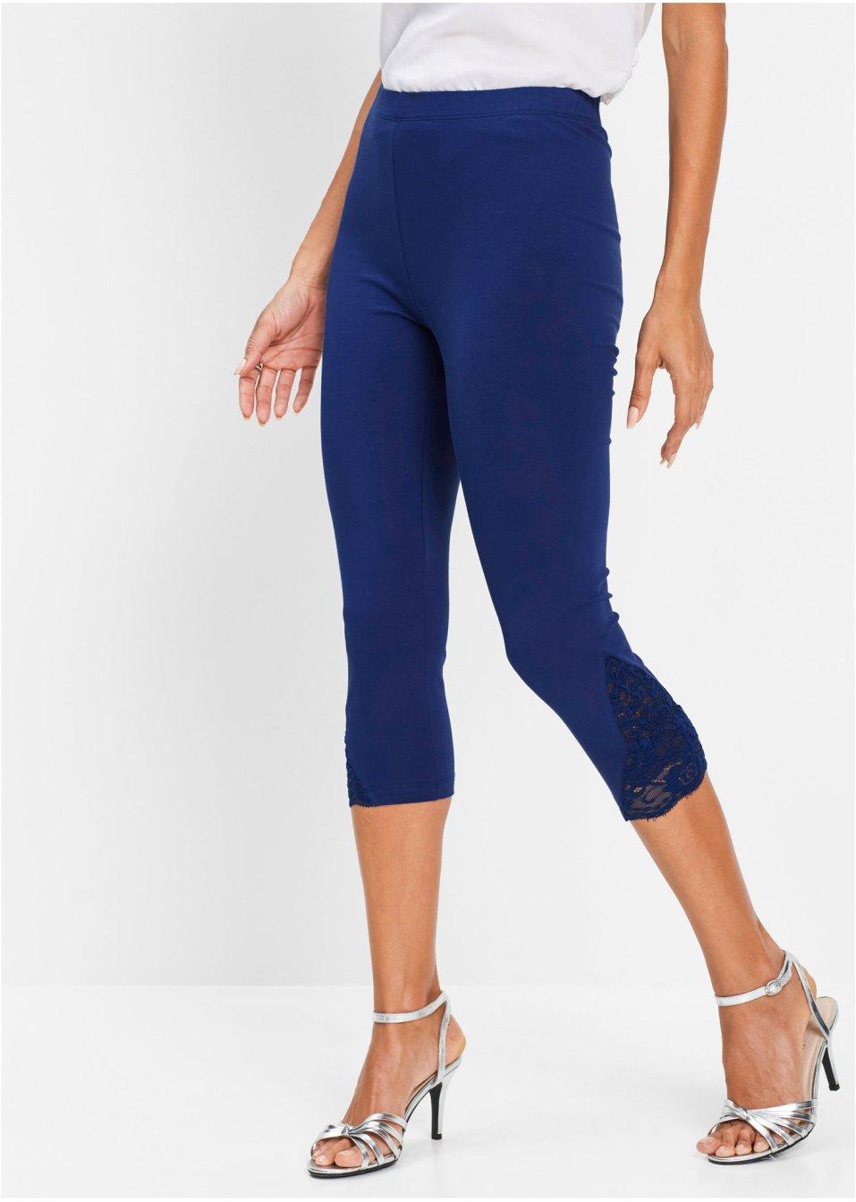 ansprechende capri leggings mit spitze mitternachtsblau. Black Bedroom Furniture Sets. Home Design Ideas