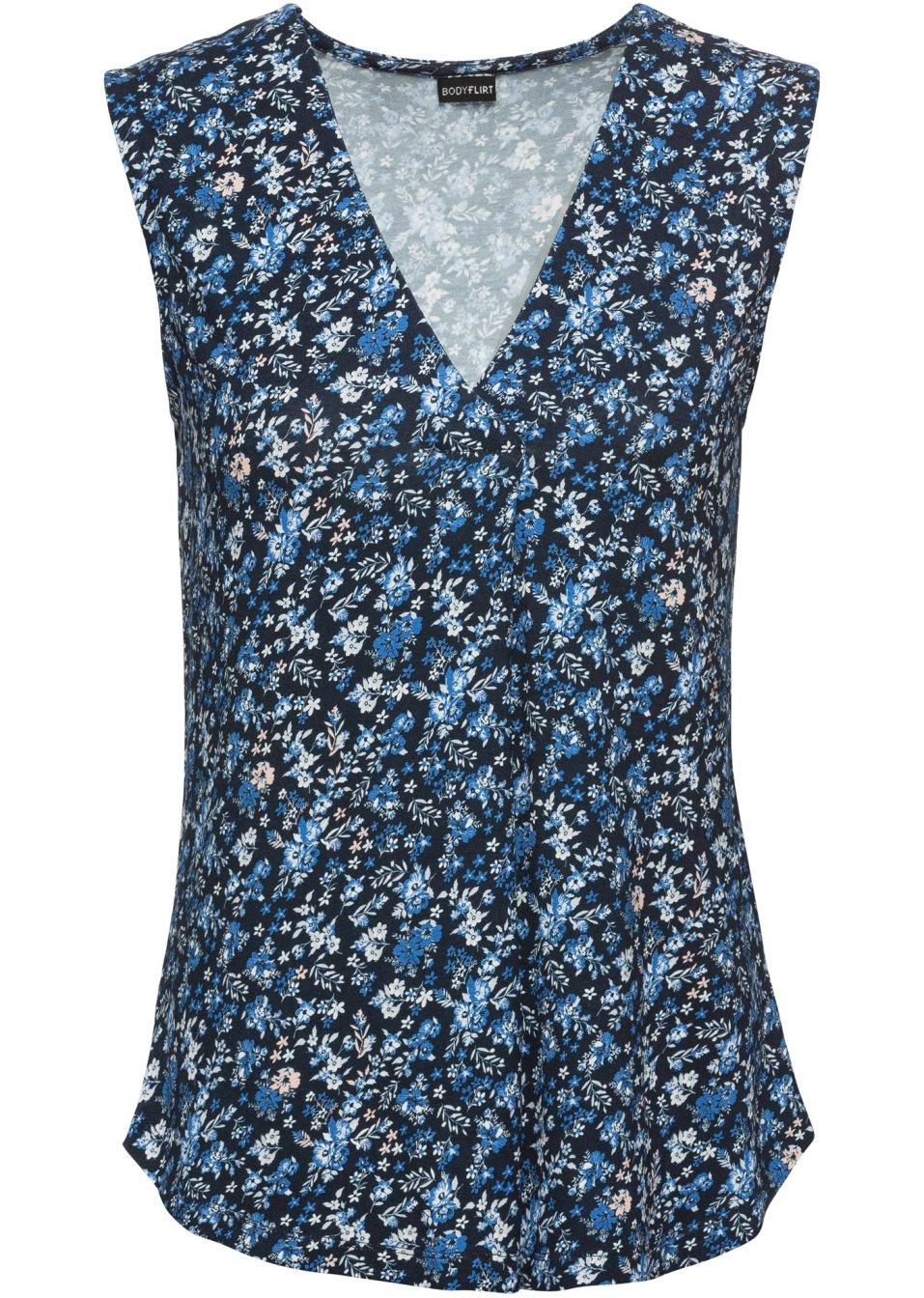Hübsches Top mit V-Ausschnitt und eingelegter Falte - blau geblümt 4uQcL zK8M2