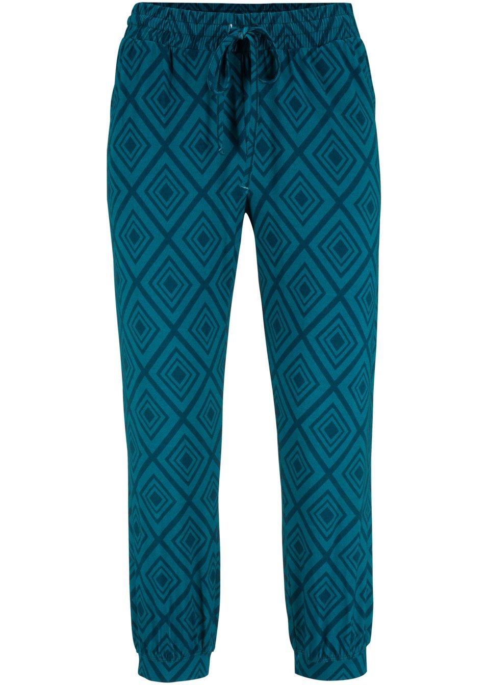 Bequeme Hose mit Viskose und elatischem Bund mit Bindeband - blaupetrol bedruckt OHYVP gD025