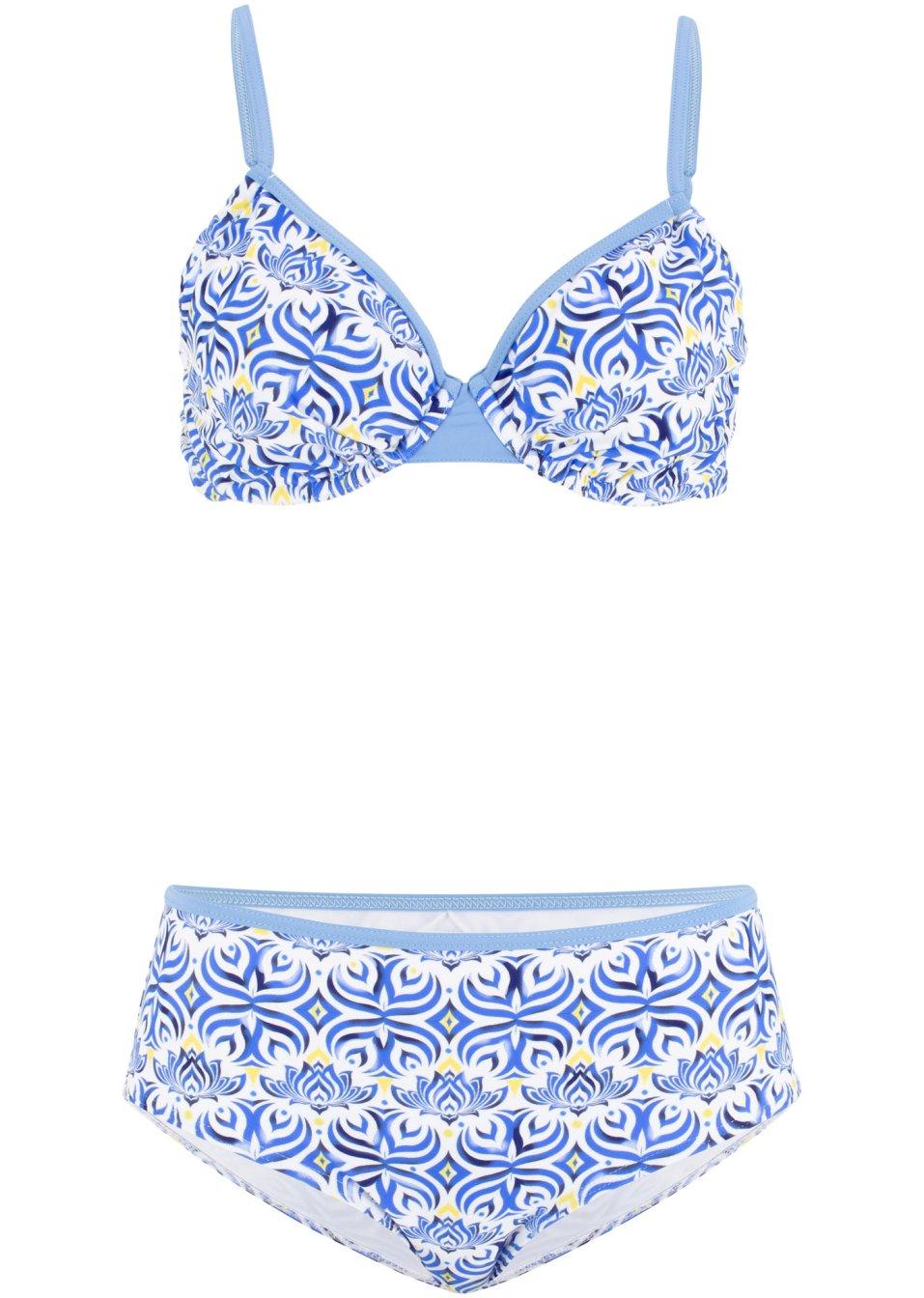Bügel Bikini mit sommerlichen Druck - blau/weiß/gelb Cup C 0Um6K Dpnc4