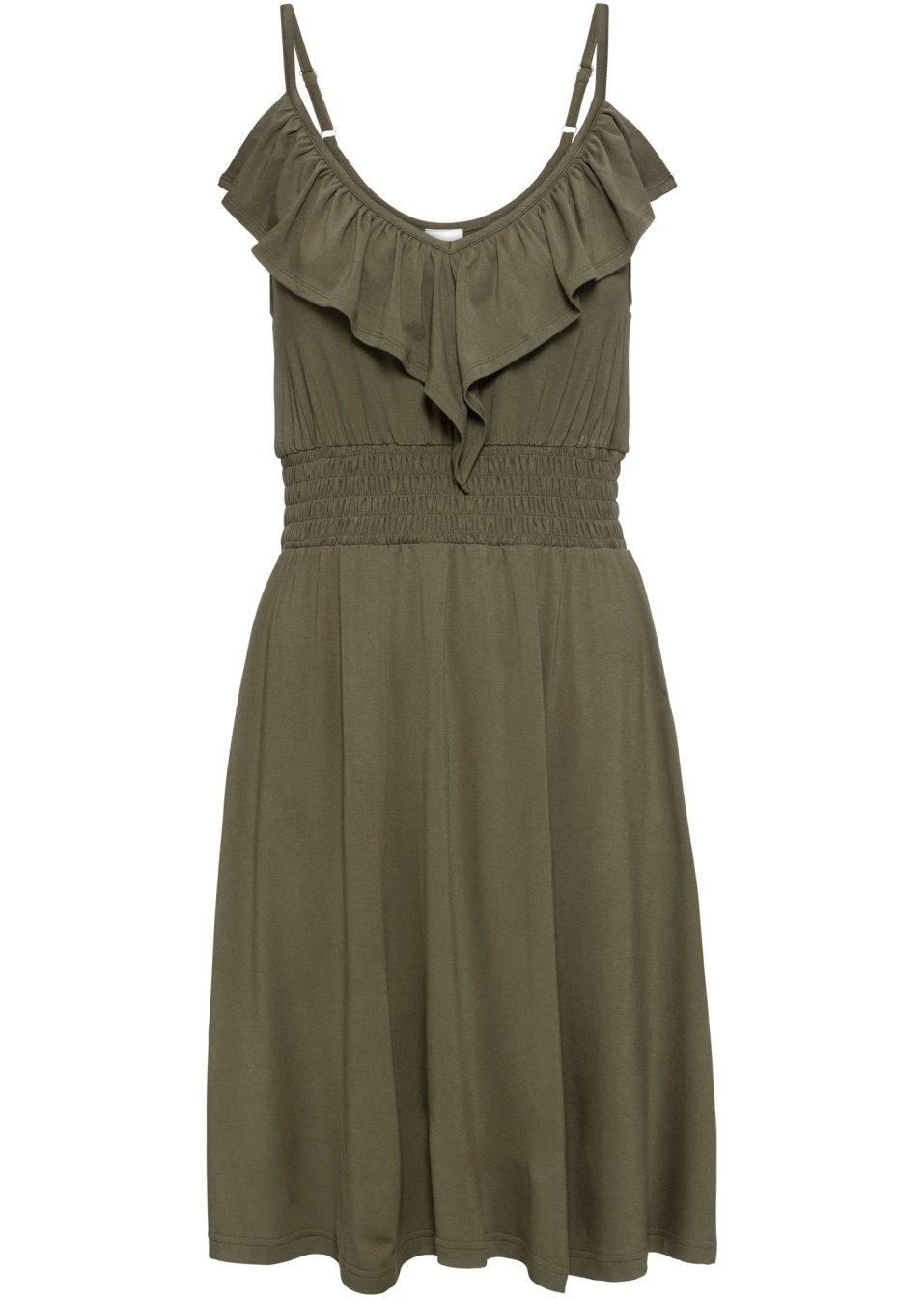 Ärmelloses Jerseykleid mit Volant und tiefem V-Ausschnitt - dunkeloliv IxASF dPXxR