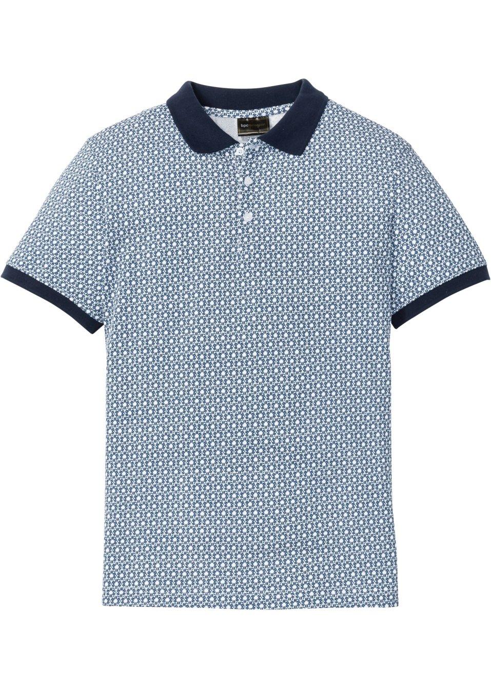 Herren Poloshirt graphisch bedruckt - blau/weiß graphisch bedruckt khtvd jXKck