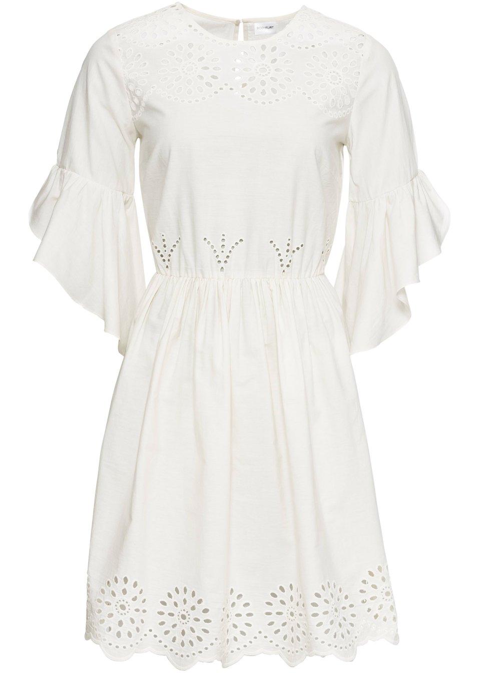 Romantisches Kleid mit Volantärmeln - wollweiß 42ViS zrscH