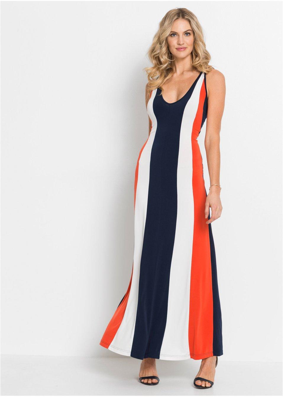 Langes Kleid mit Streifen und raffinierter Trägerlösung ...