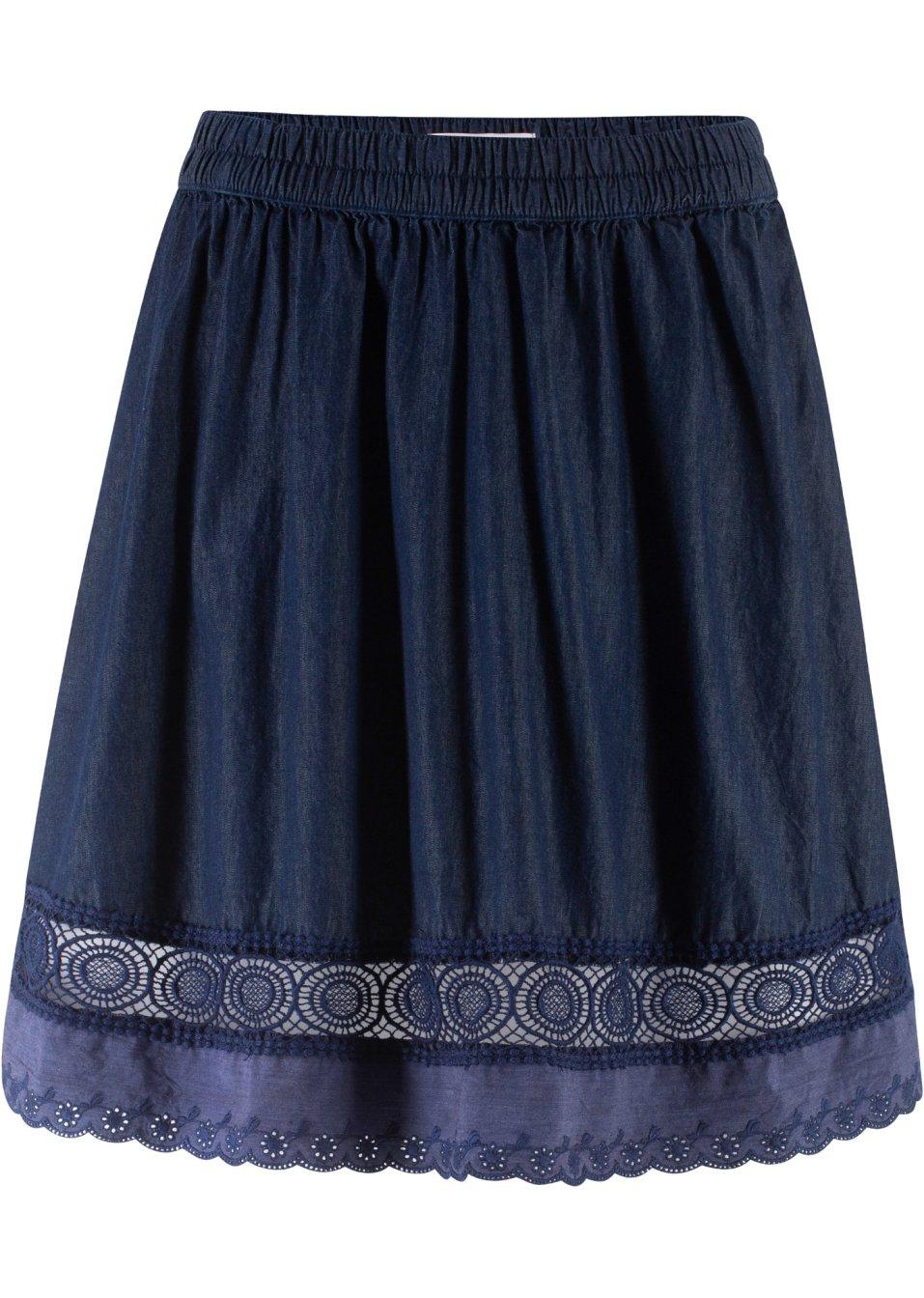 Jeansrock mit Gummizug und Spitze dunkelblau - Damen - bonprix.de 5n5j5 N5iwW
