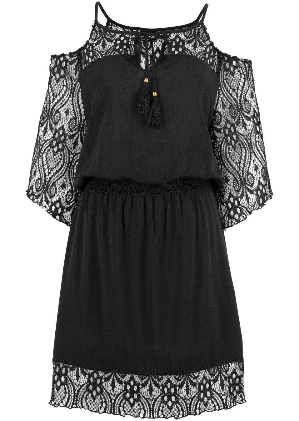 Feminines Off-Shoulder Strandkleid mit romantischen Spitzendetails - schwarz d2rAR yZi71
