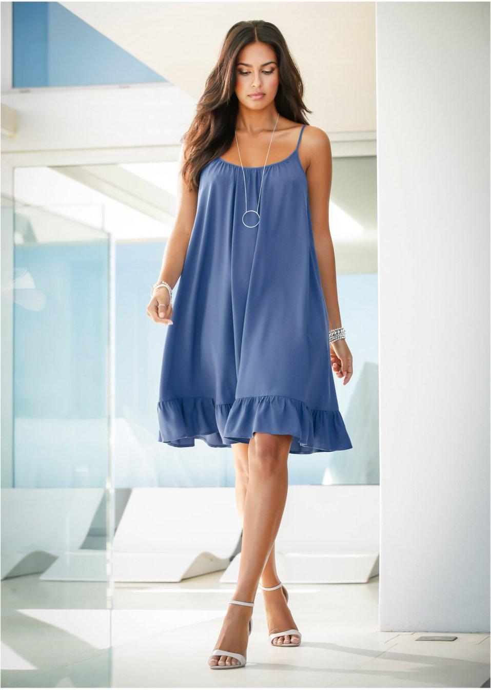 a55e1e09a27 Weites Hängerchen-Kleid mit Volant - indigo