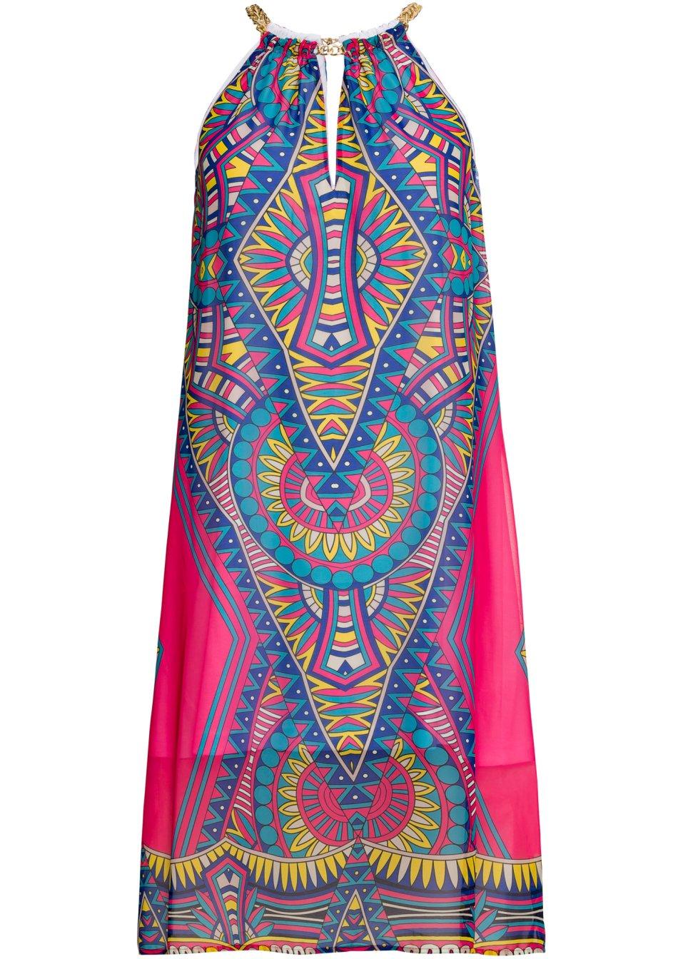 Ausgefallenes Kleid mit Cut-Out - pink gemustert wFoLU XEJLb