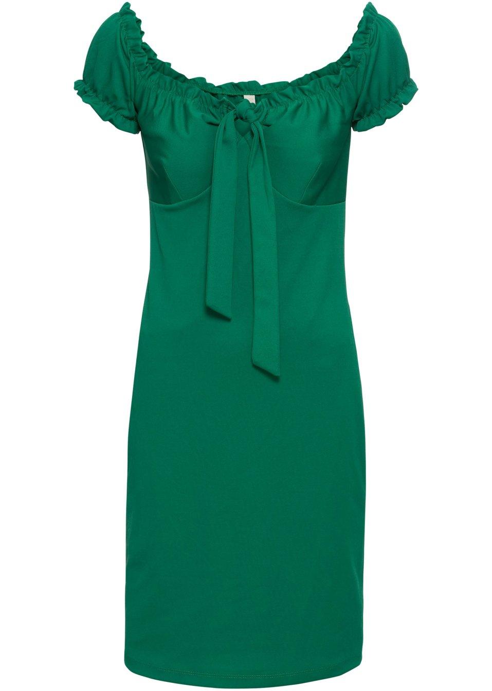 Ausdrucksstarkes Kleid mit tiefem Dekolleté - grün t3aoq iNz96