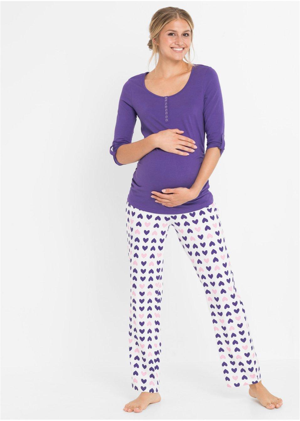 0c50496d39f800 Zweiteiliger Pyjama für Schwangerschaft und Stillzeit - lila/weiß bedruckt