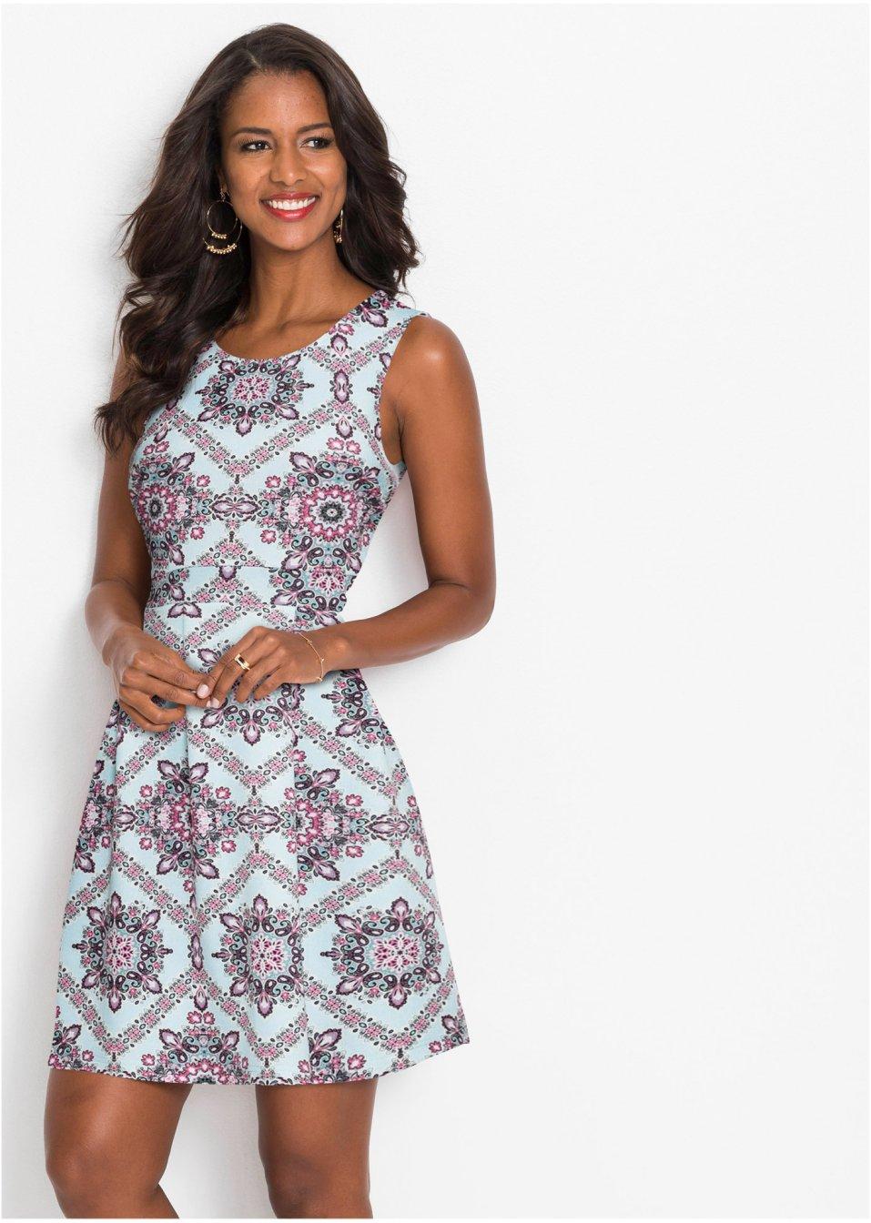 Kurzes Kleid mit Alloverprint und Rundhalsausschnitt ...