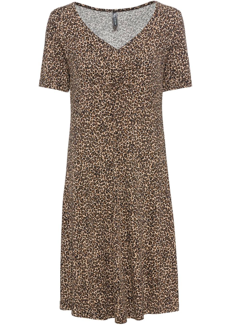 Angesagtes Kleid mit Leodruck - braun leo bedruckt NanIm XmphV