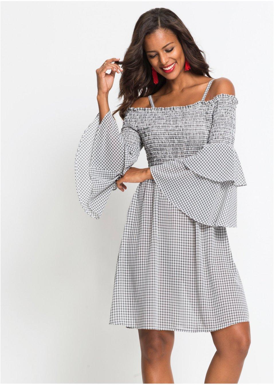 8a21b57ab18a62 Zauberhaft gesmoktes Kleid mit Cold-Shoulder-Effekt und Volantärmeln -  schwarz/weiß kariert