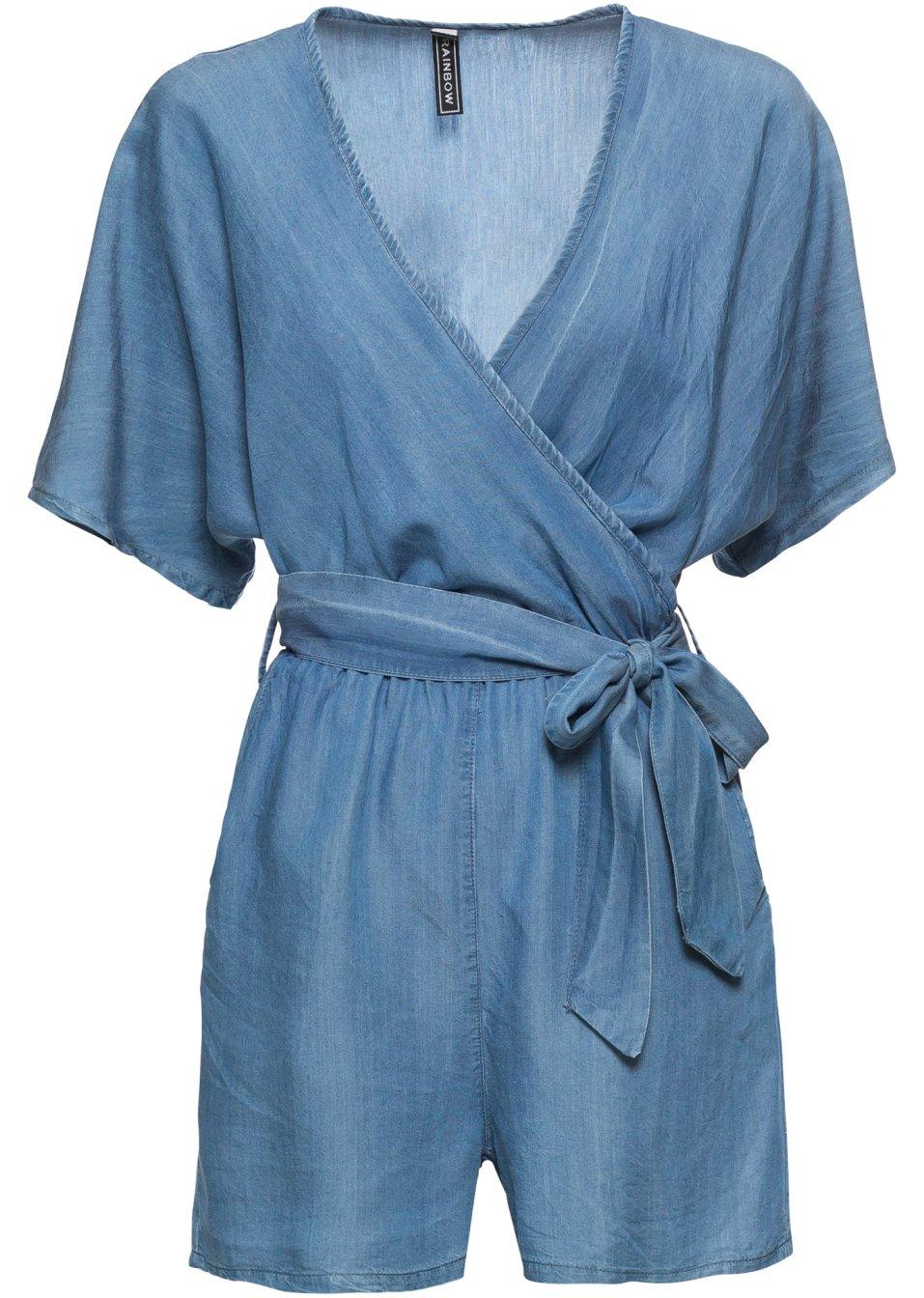 Stylisher Jumpsuit in angesagter Wickeloptik mit Bindeband - blau Bx25v z6iNf