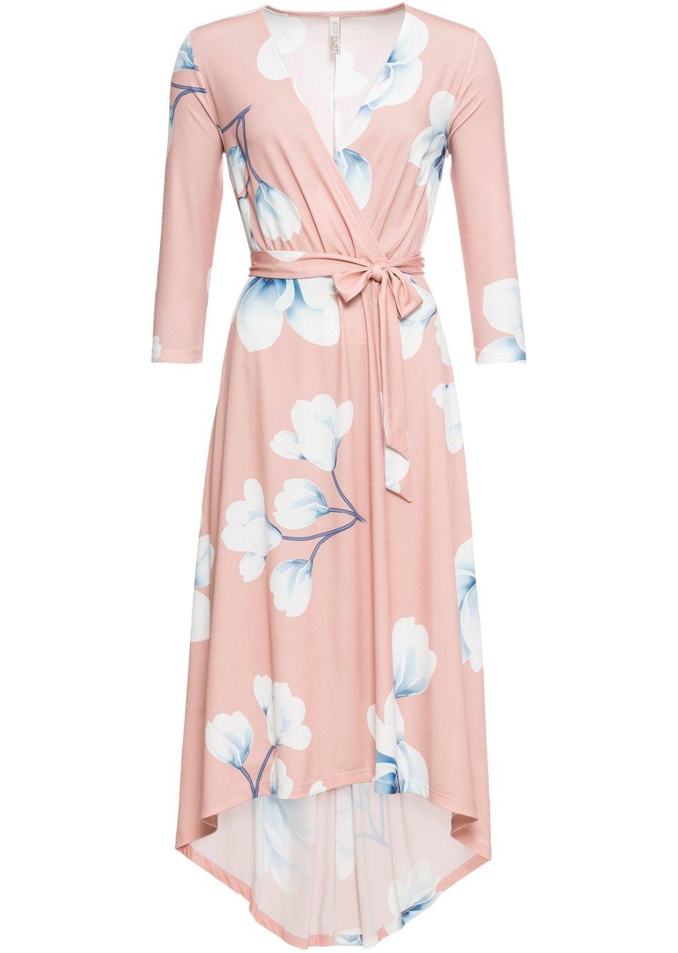 Stilvolles Wickelkleid mit 3/4-Ärmeln - rosa/dunkelblau geblümt PrW8B qZw5K