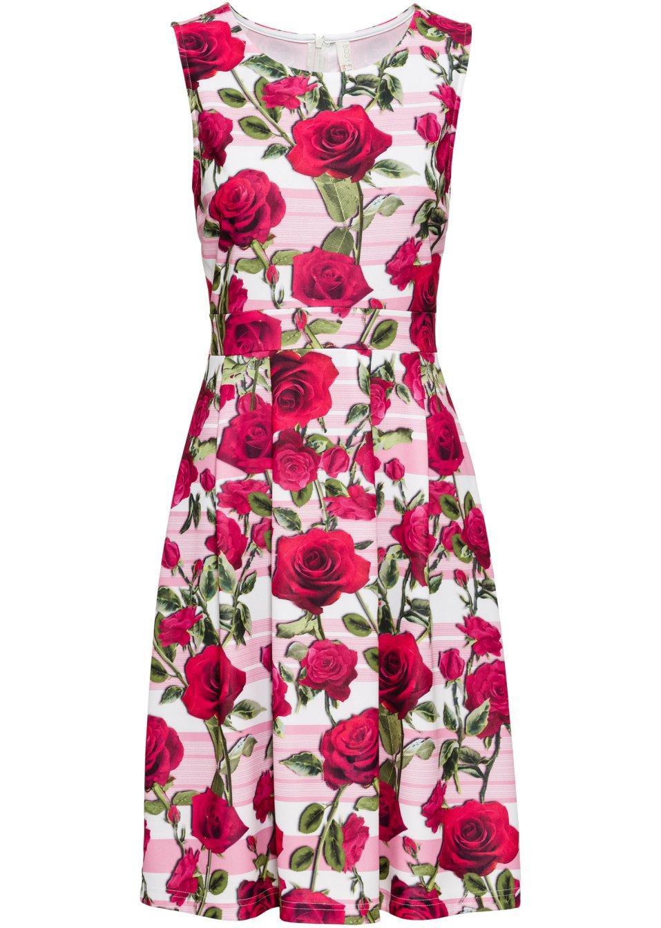 Ärmelloses Kleid mit Rundhalsausschnitt - weiß/pink geblümt G7BKR 0cxWe