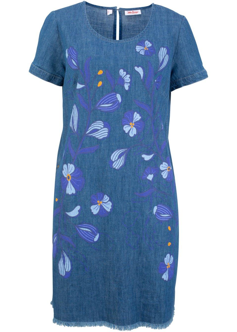 Jeanskleid bedruckt Kurzarm hellblau bedruckt - Damen - John Baner JEANSWEAR - bonprix.de bc12R Lg95V