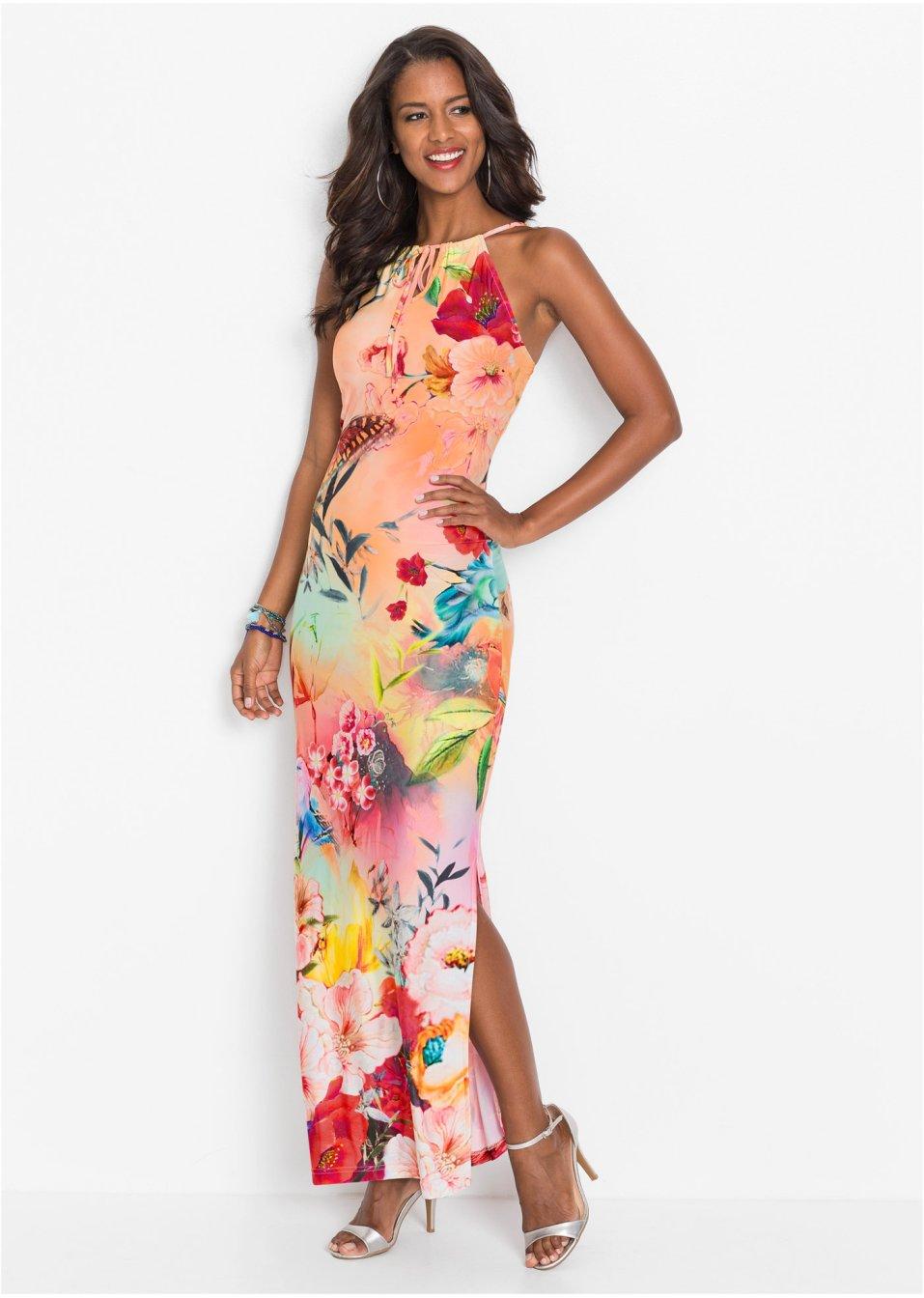 Floral bedrucktes Kleid in Maxilänge - rosa geblümt