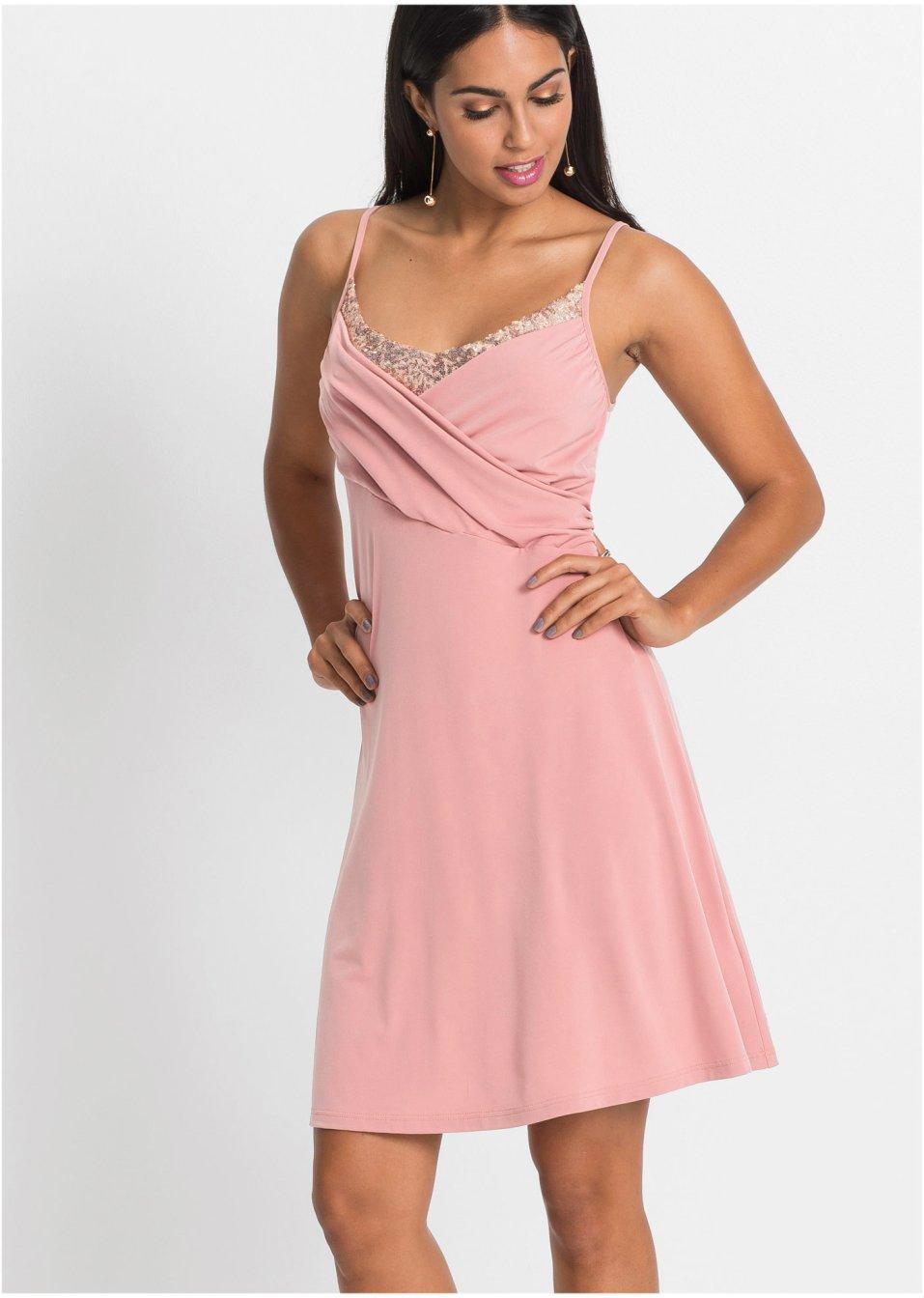 Glamouröses Kleid mit stilvollem Pailletten-Einsatz - rosa