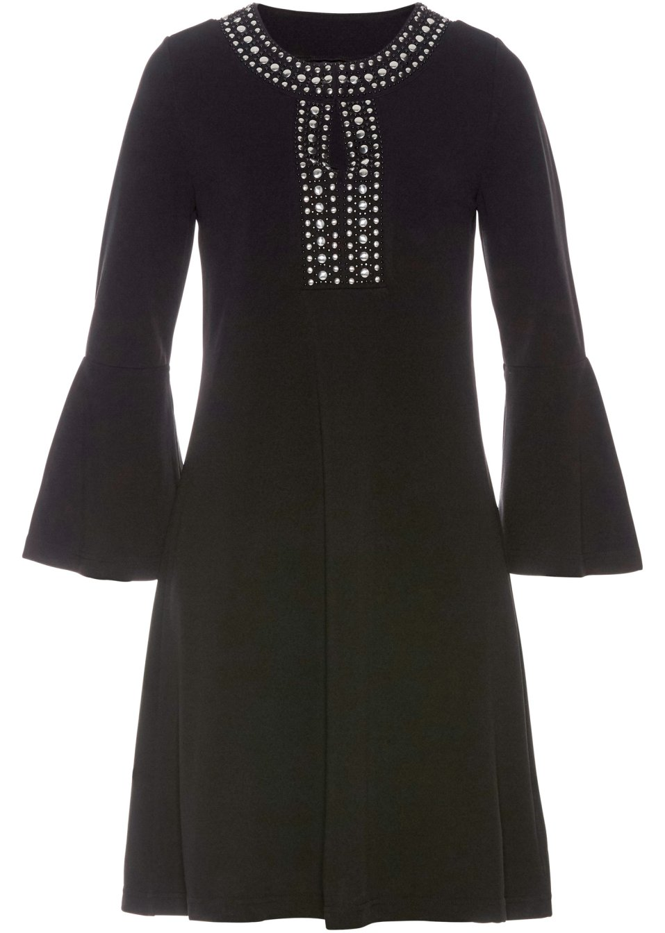Elegantes Shirt-Tunika-Kleid mit zierender Applikation - schwarz JGKyU W2kn7