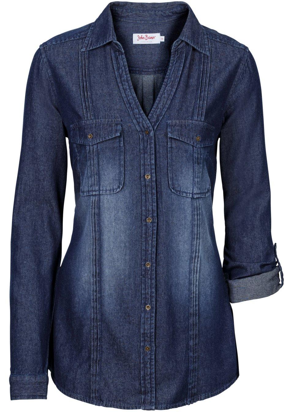 Vielseitige Basic-Jeans-Longbluse mit aufgesetzten Taschen - dunkelblau uQzvD GOGBg