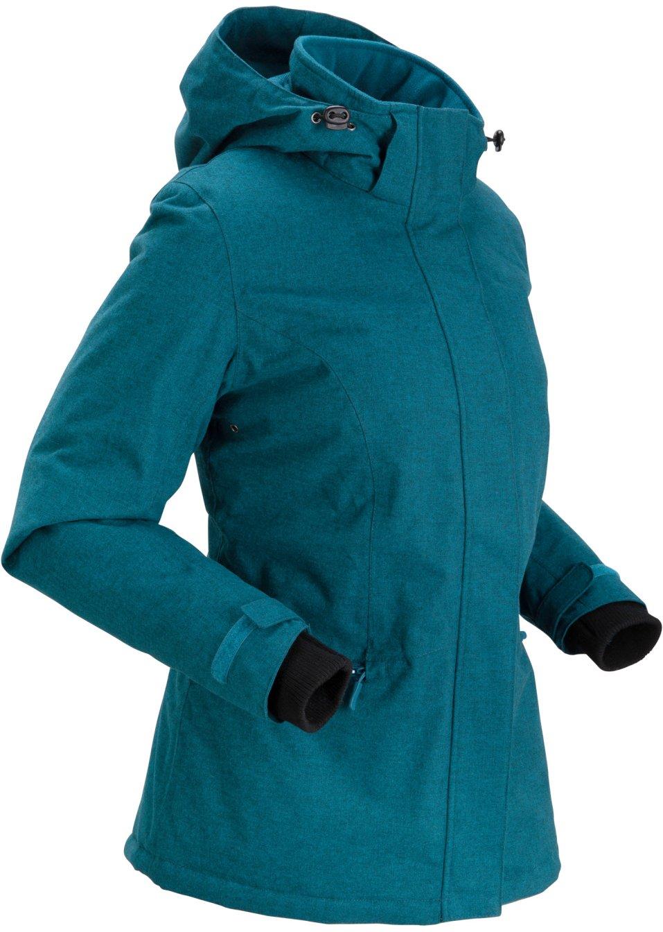 Moderne Outdoorjacke mit abnehmbarer Kapuze - blaupetrol meliert 81TyG KieBl