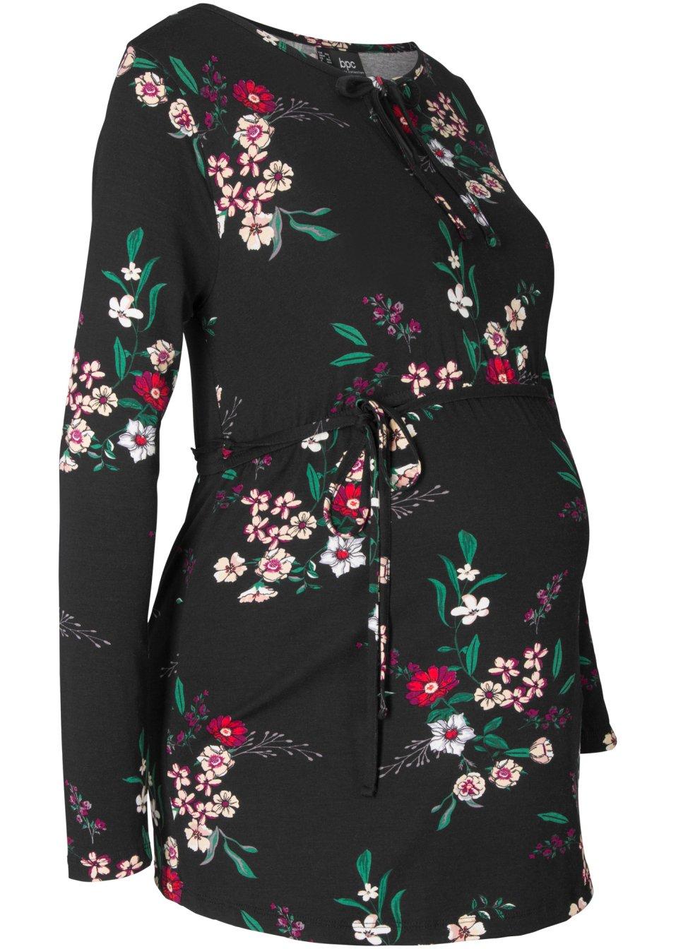 Umstandsshirt aus Viskose mit Blumendruck und Bindedetail - schwarz geblümt APs4e KbuTN
