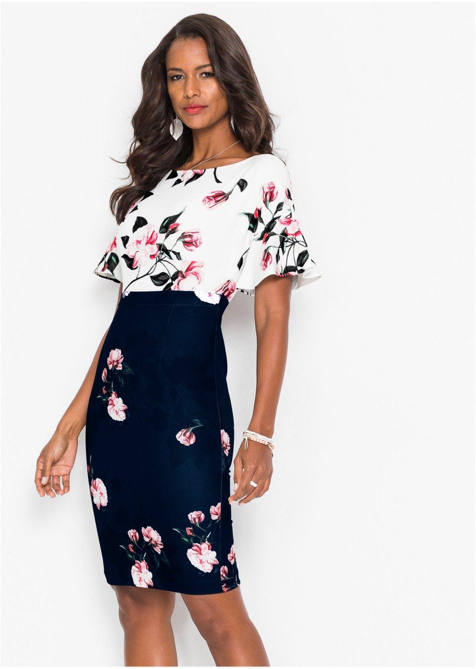 Kleid mit Blumen Motiv schwarz/weiß geblümt - BODYFLIRT ...