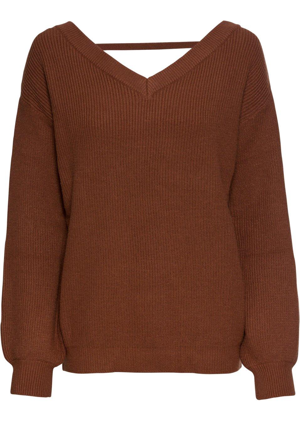 Pullover mit tiefem V-Ausschnitt ziegelbraun - BODYFLIRT online kaufen - bonprix.de cjmko oPxyJ