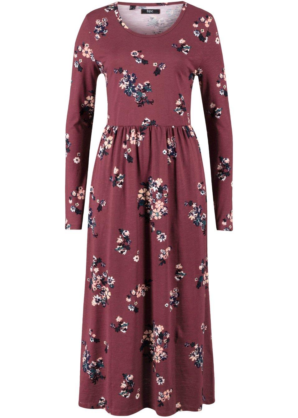 Baumwoll-Kleid in A-Linie geschnitten mit Rundhals-Ausschnitt - ahornrot/schwarz/tiefgrün/wollweiß/mitternachtsblau/rauchkoralle/melba geblümt k23dO LLzNk