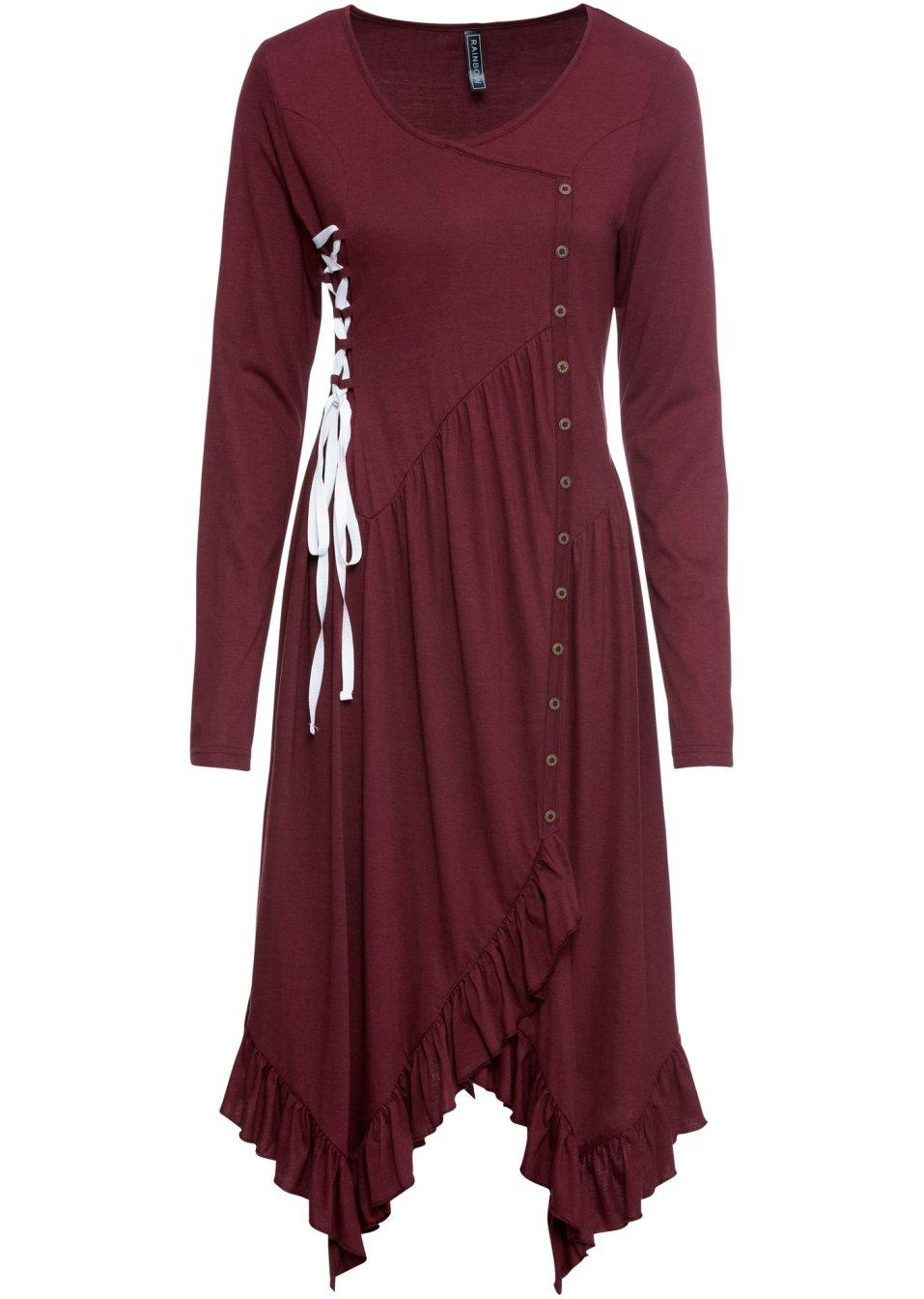 Kleid mit Schnürung ahornrot/weiß - RAINBOW online bestellen - bonprix.de 1YRBo 5Zfji