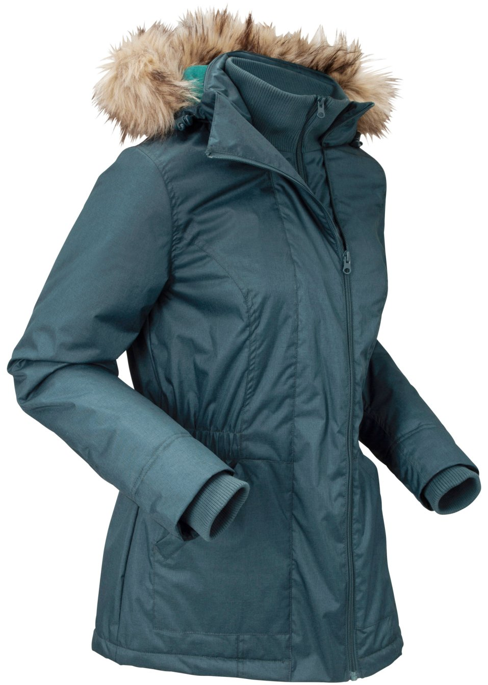 Alltagstaugliche Funktions-Jacke mit abnehmbarer Kapuze - petrolgrün meliert bdX9g BrDIu