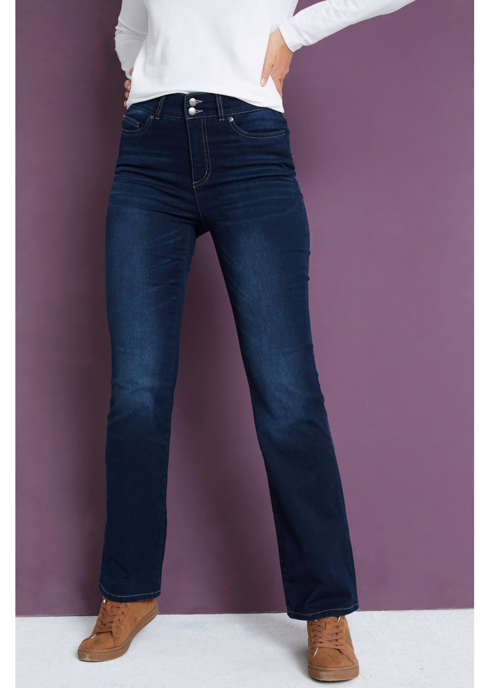 40,44 Push up Jeans Strechjeans Knopfleiste Gr