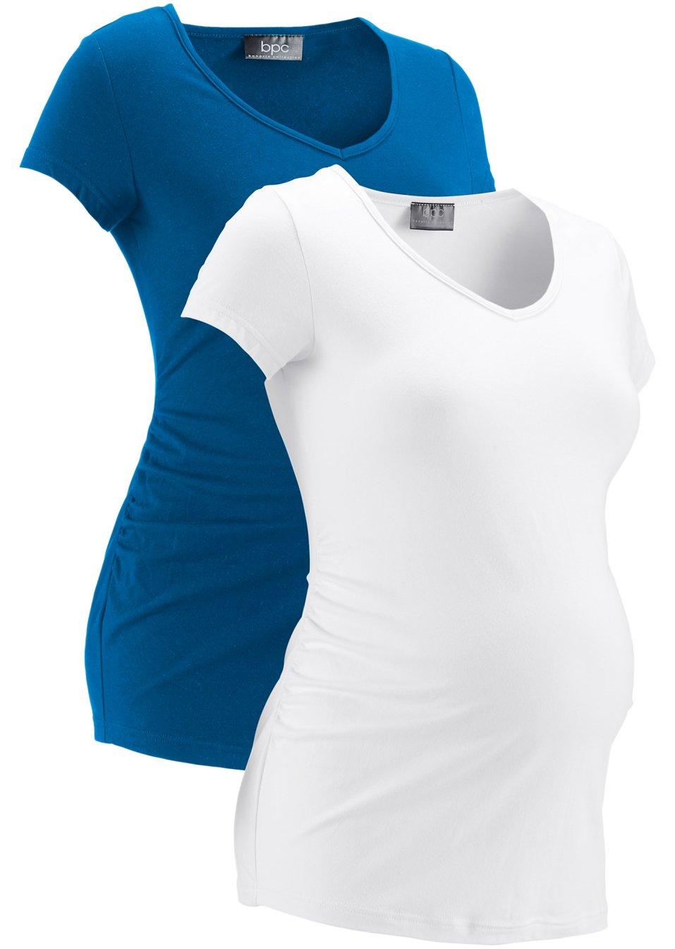 T-Shirts mit V-Ausschnitt für Schwangere - azurblau + weiß 2sBDi mb8Y2