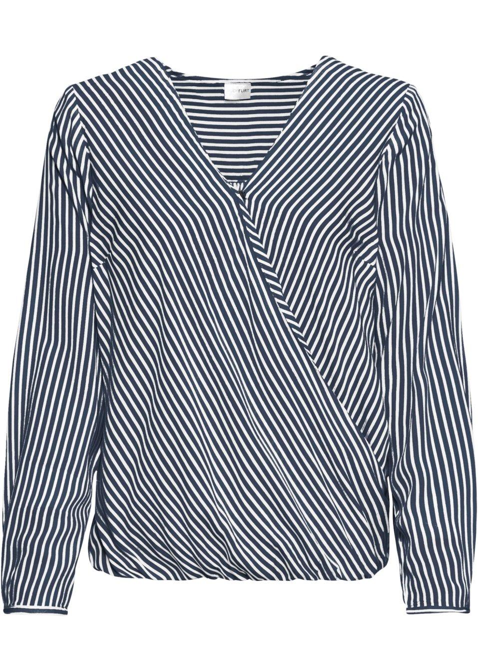 Bluse in Wickeloptik wollweiß/dunkelblau gestreift - BODYFLIRT online kaufen - bonprix.de iXuoc P1cQn