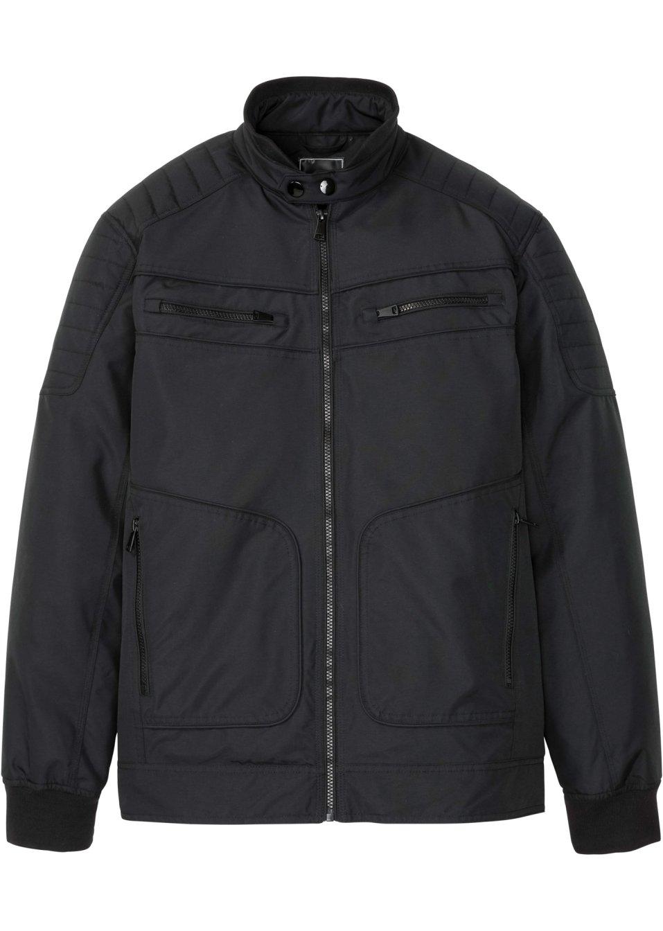 Coole Jacke im Bikerstil mit vielen Details und Reißverschlusstaschen. - schwarz 2xMOR MktaO