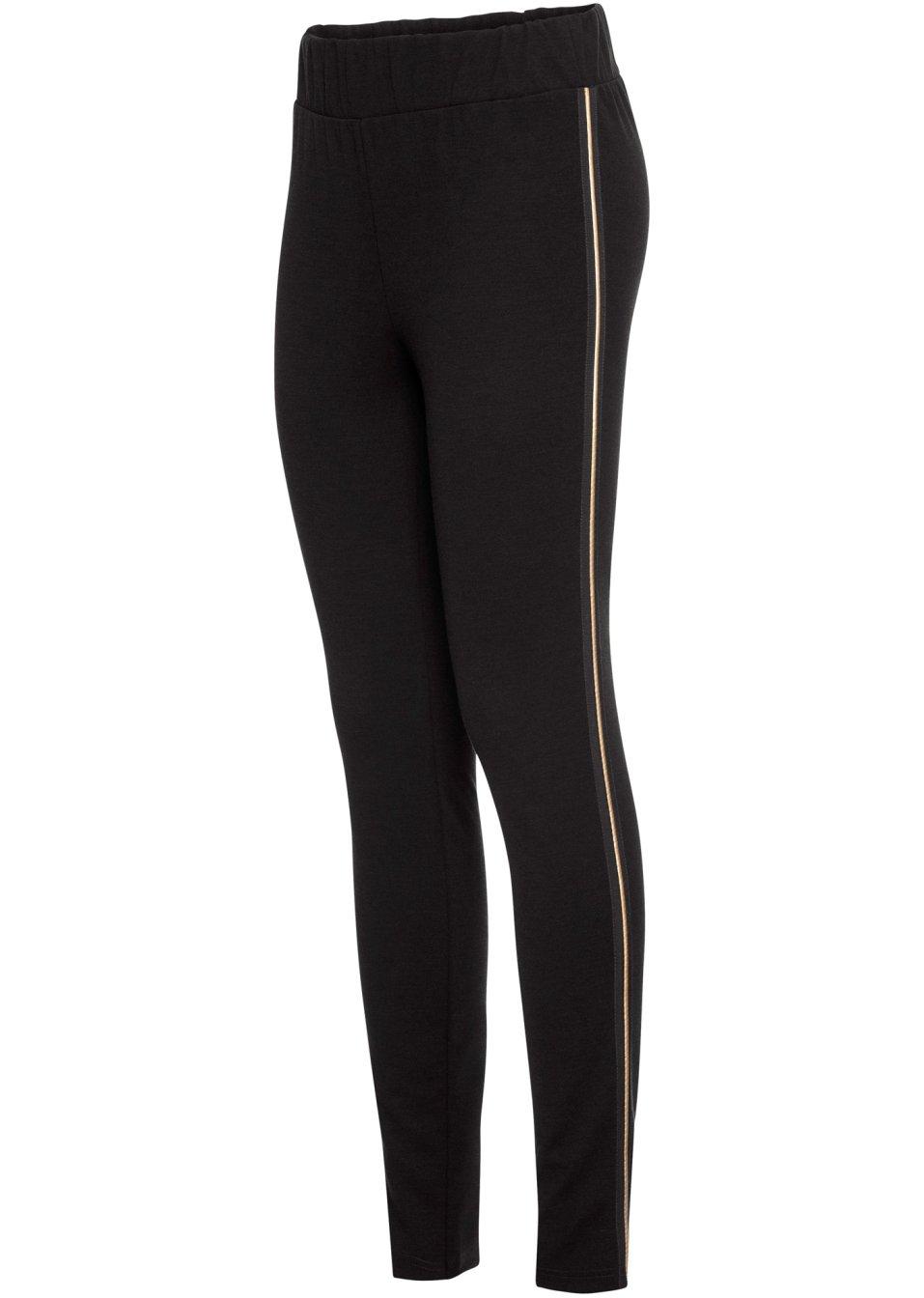 Jersey-Hose mit Seitenstreifen und elastischem Gummibund - schwarz ncS3I OvNoe