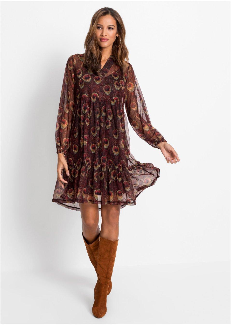 Kleid mit Langarm braun/beige bedruckt - BODYFLIRT ...