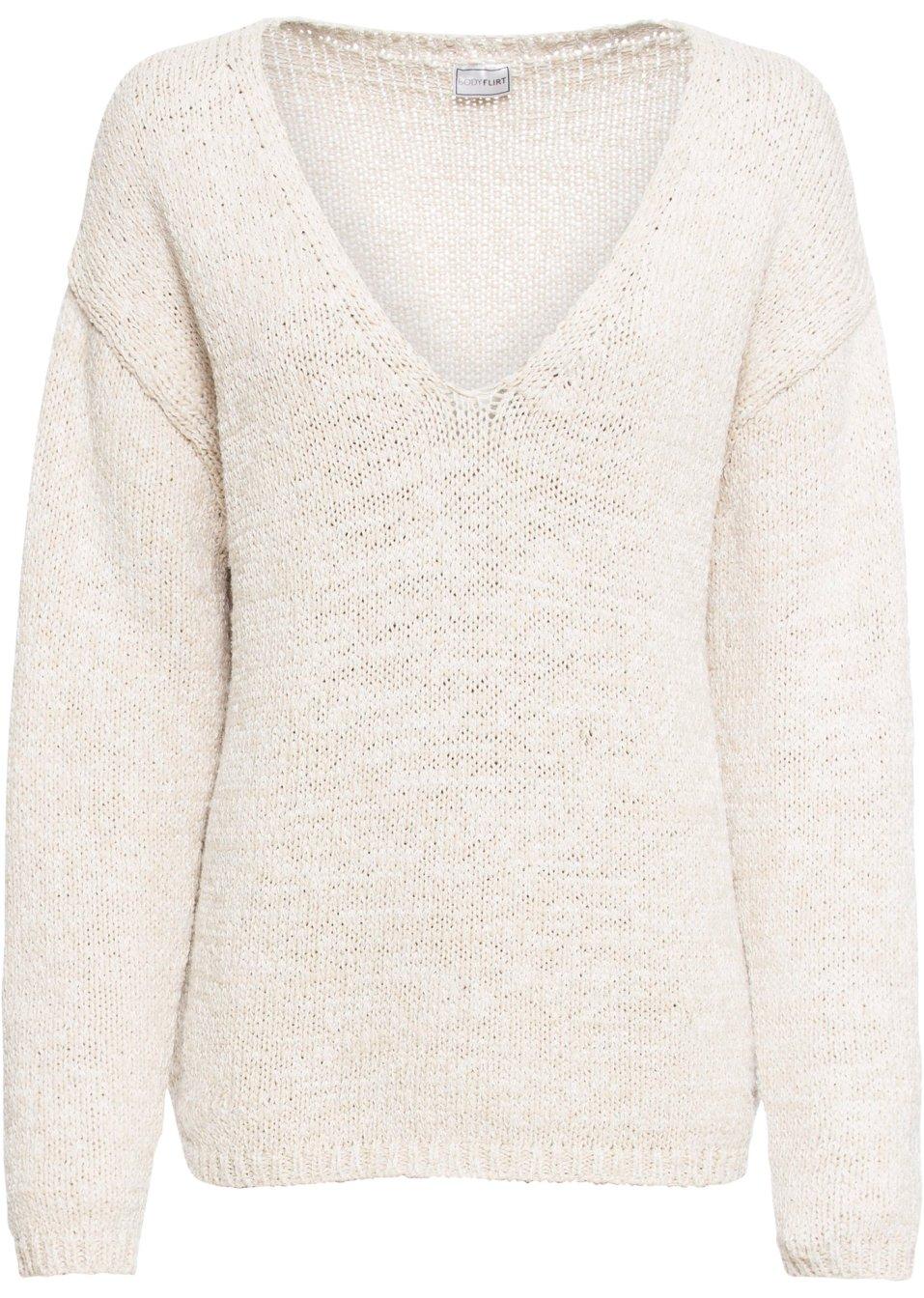 Pullover mit V-Ausschnitt - beige fkaUb WUfCF