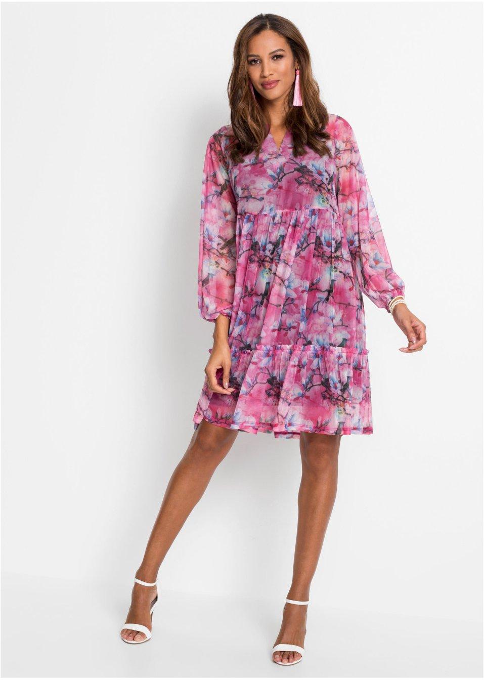 kleid mit print pink/schwarz geblümt - bodyflirt boutique